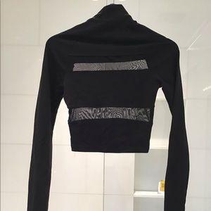 Sine Black turtleneck shear crop top long sleeve S
